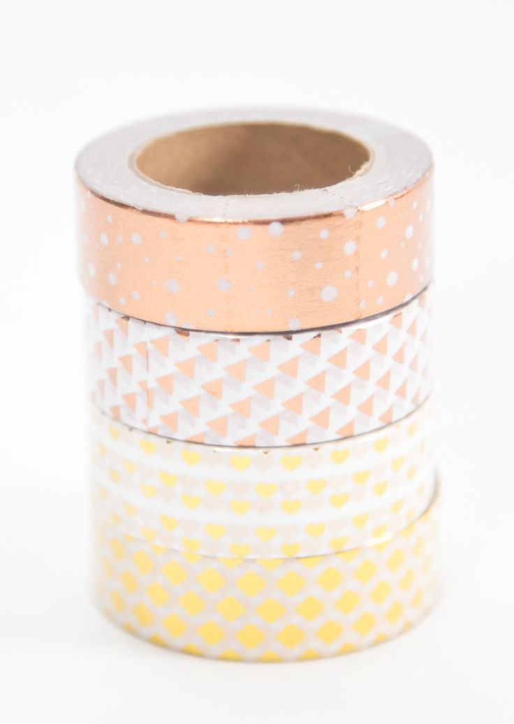 Sparkle and shine with these gorgeous gold foil metallic washi tapes in both rose gold (copper) and yellow gold patterns. Each roll is a nice long 10 meters! Buy a combo pack to get one of each at a discount.