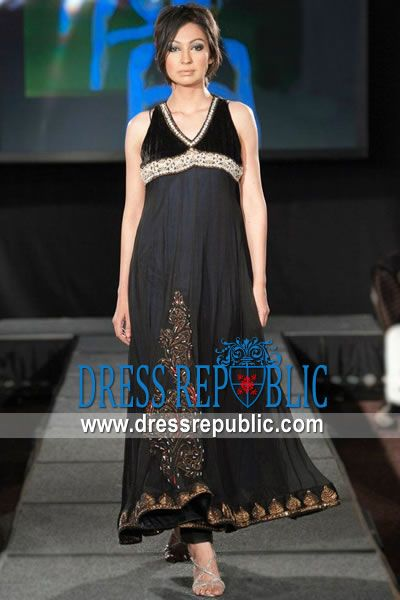 Black Nude Casio, Product code: DR9587, by www.dressrepublic.com - Keywords: Pakistani Party Wear Dresses 2013 Collection, Pakistani Designer Party Dresses New York, USA