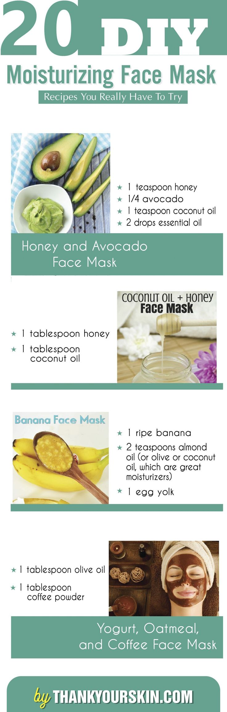 DIY moisturizing face mask - Easy DIY face mask recipes at home. Get a glowing and clear skin today!  https://www.thankyourskin.com/diy-moisturizing-face-mask/