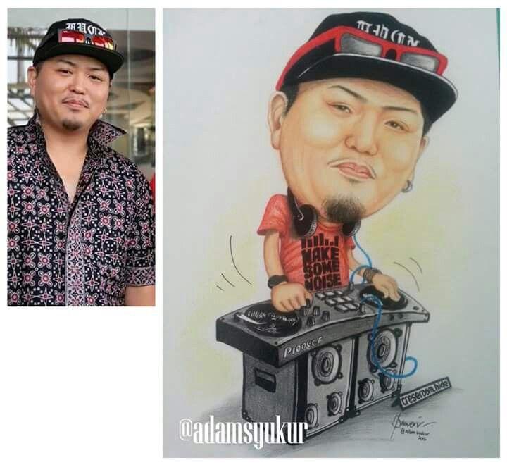 """DJ caricature """"Color pencils on paper"""""""