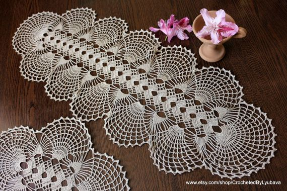Handmade crochet large oval doily for sale. Crochet table runner - beautiful accent for home table decorations. Finished Measurement approx: