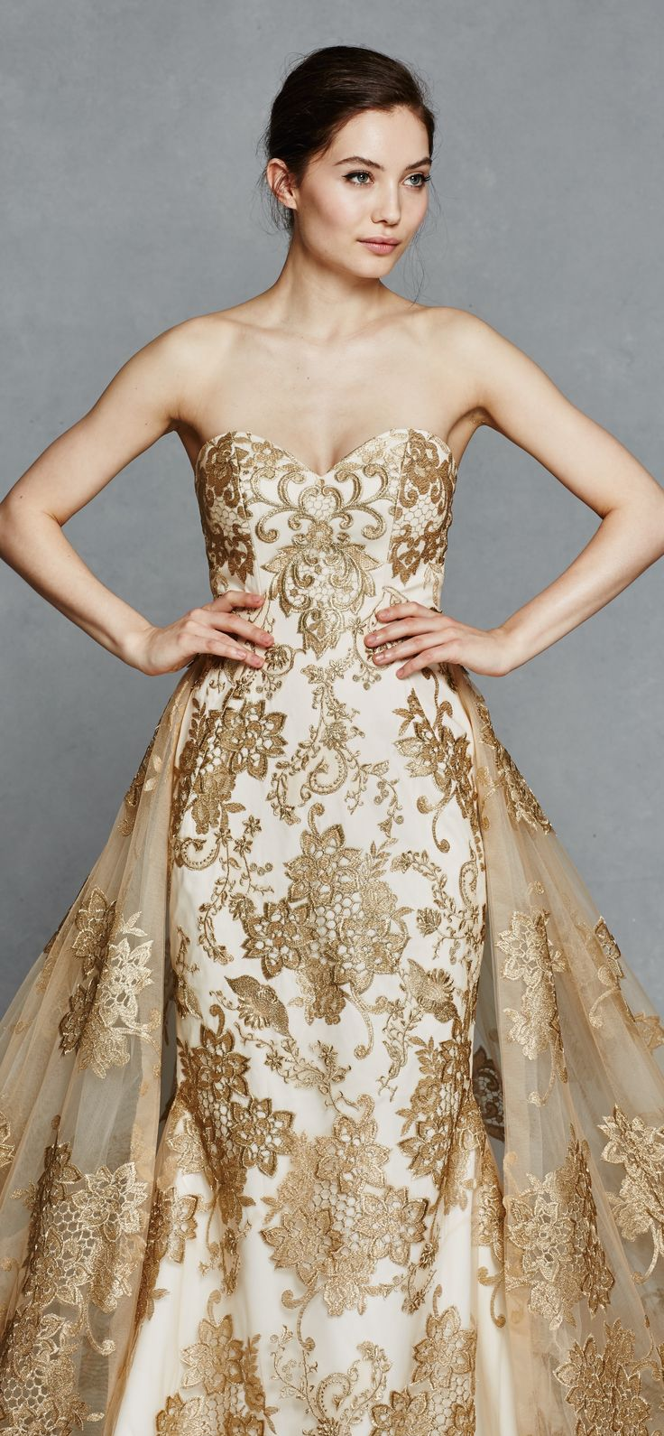Gold wedding dress kelly faetanini spring with detachable