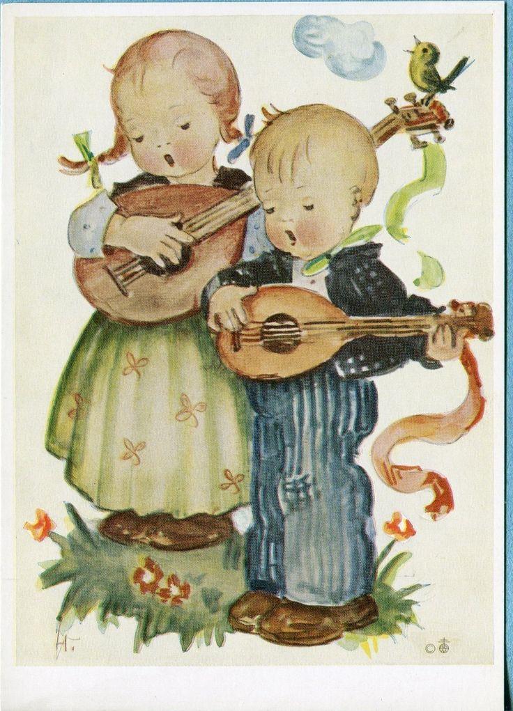 Vintage Kids Books My Kid Loves Koko S Kitten: X8018 Postcard 4x6 Modern Hummel Children With Mandolins