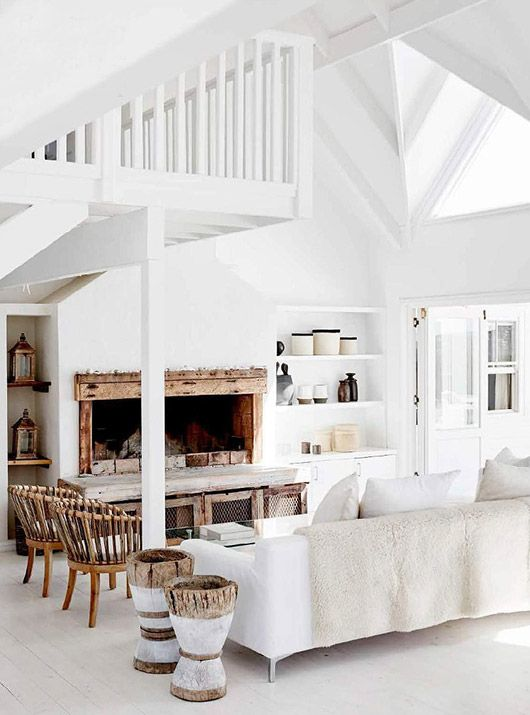 rustic and modern white living room in south african beach home / via @sfgirlbybay