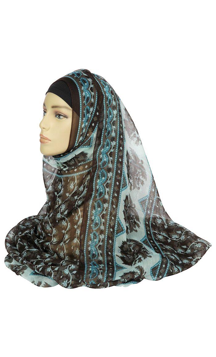 Brown And Turquoise Printed Hijab