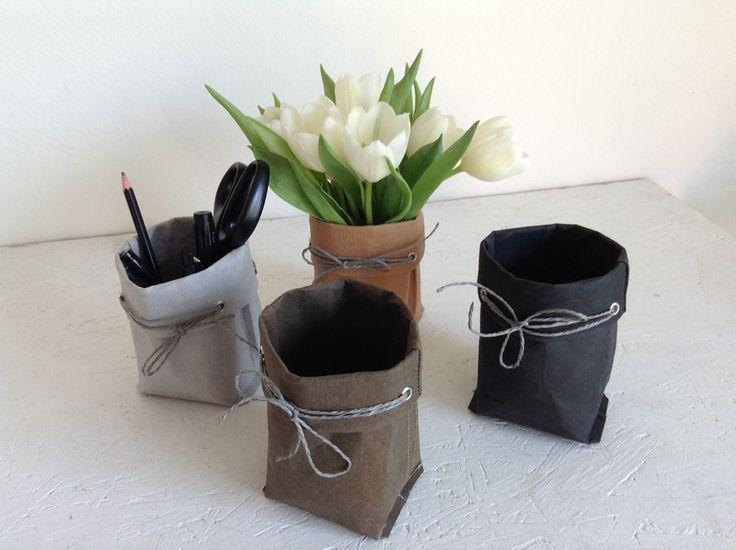 Utensilos & Stoffkörbchen - Utensilo veganes Leder SnapPap - ein Designerstück von kaltwasser-TaschenTick bei DaWanda