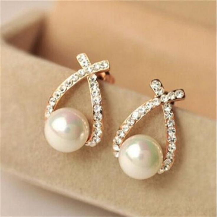 2016 New Arrival Gold silver Cute Delicate Cross Imitation Pearl Earrings High Quality Fashion Rhinestone Earrings Jewelry