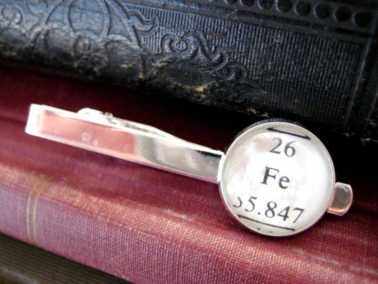 Heavy Metal, Fe, Iron, Chemistry Textbook Periodic Table Element Silver Tie Clip by LeftBrainRightBrain on Etsy