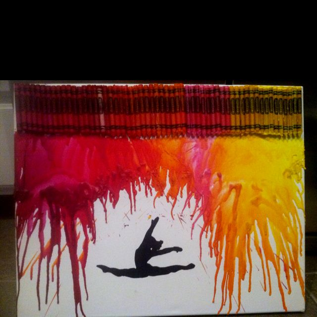 Crayon art with dancer silhouette.