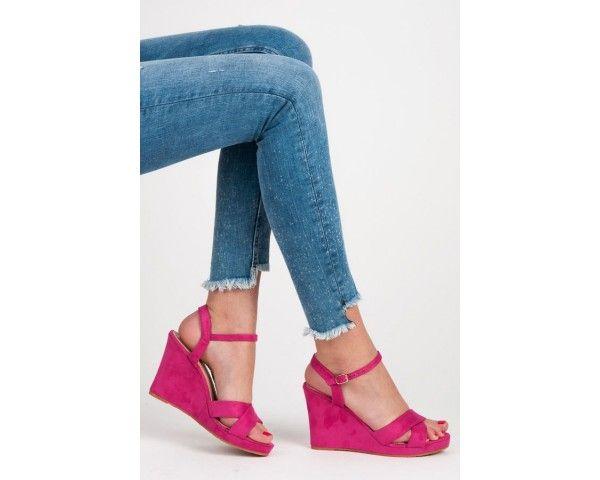Dámské sandály na klínku Upmer růžové
