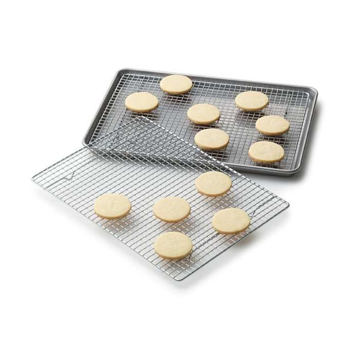 Perfect size. Racks fit securely inside half-sheet pans for added kitchen ease. Perfect for cookies, cakes, muffins, and scones. Also great for roasting and broiling, grilling, and barbeque use.