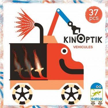 Optikai puzzle járművek- Kinoptik vehicles Djeco-Újdonság. Ez igazán különleges kirakó, ahol a képek mozogni kezdenek! Rakj ki egy járműképet, majd húzogasd a megfelelő irányba a vonalas lapot, és a járműved máris életre kel,  az alkatrészei mozgásba lendülnek.