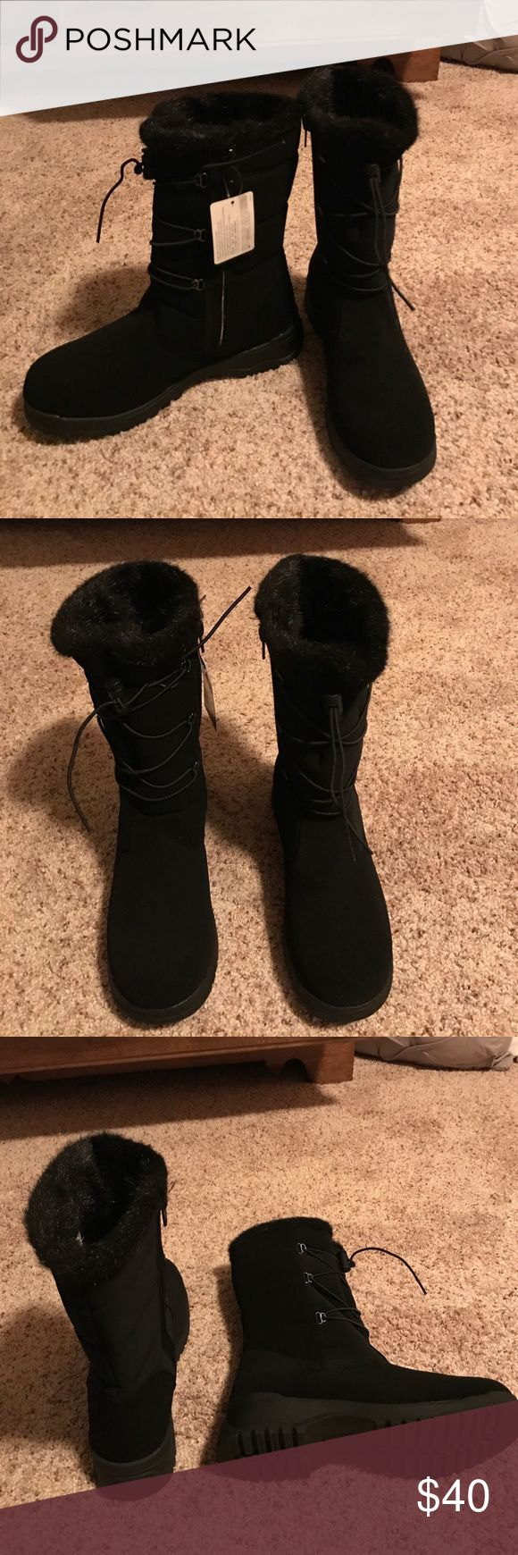 Boots Tundra Boots.  NWT, black, size 8, very comfortable and warm.  Purchased them on sale for $50.  Asking $40 or best offer.  Would look great with leggings or skinny jeans.  Great for walking around in the city on a brisk day. I'm normally a 7.5 and these fit perfect. Tundra Shoes Winter & Rain Boots