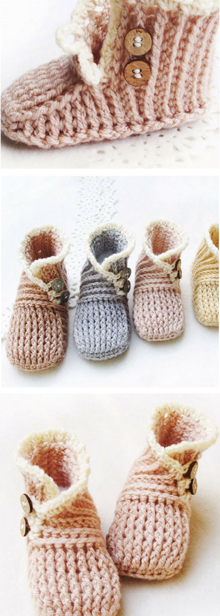 Wrap and Button Baby Booties Crochet Pattern- Baby Accessories - Crochet Baby Shower Gifts - Pattern is available for download after purchase #ad