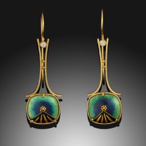 RL110 Belle Epoch Earrings 18K & 24K Yellow Gold, #Cloisonne #Enamel and #Diamonds by Amy Roper Lyons ♥•♥•♥GORGEOUS♥•♥•♥