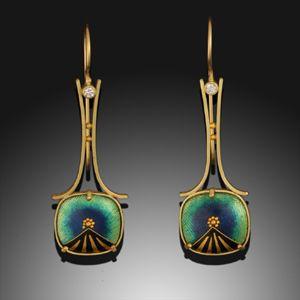 RL110 Belle Epoch Earrings 18K & 24K Yellow Gold, #Cloisonne #Enamel and #Diamonds by Amy Roper Lyons ♥•♥•♥GORGEOUS♥•♥•♥