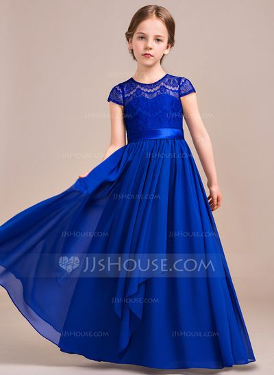 A-Line/Princess Scoop Neck Floor-Length Bow(s) Cascading Ruffles Zipper Up Sleeves Short Sleeves No Royal Blue General Chiffon Lace Junior Bridesmaid Dress
