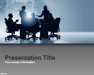Free Corporate Performance Management PowerPoint Template with business board of directors and gray background