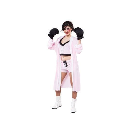 One size compleet bokster kostuum voor dames, bestaande uit het topje, broek, jas en feest bokshandschoenen. Het kostuum is gemaakt van 100% polyester.