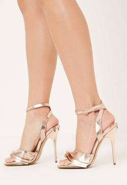 Rose Gold Ruffle Detail Heeled Sandals - Missguided.com - On Sale $36.00    I love the idea of pairing party shoes with casual jeans and a t-shirt. Always puts a little strut in my step. :)  #shoes #missguided #annabarlaan