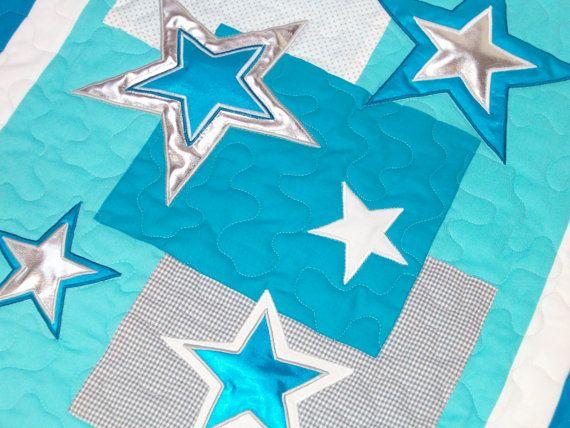 Aqua Gray  Baby Blanket, Silver Star Baby Blanket, Organic Quilt, Baby Shower Gift , Crib Blanket, Baby Boy Bedding