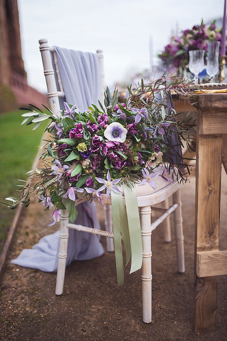 Bouquet Purple Lilac Flowers Ribbon Violet Spring Luxe Wedding Ideas http://www.katieingram.co.uk/