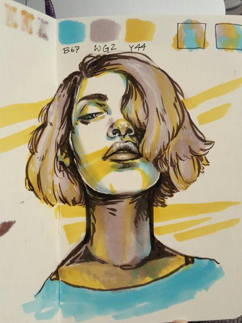 "lilybooger: ""12.05.2016 Quick three-marker challenge - selfportrait. ~20-30 mins """