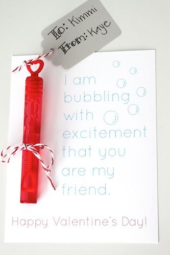 """WAY better valentine cards than candy and generic store-bought cards. """"I am bubbling with excitement that you are my friend. Happy Valentines Day"""" Perfect way to add in some non-candy options for kids."""