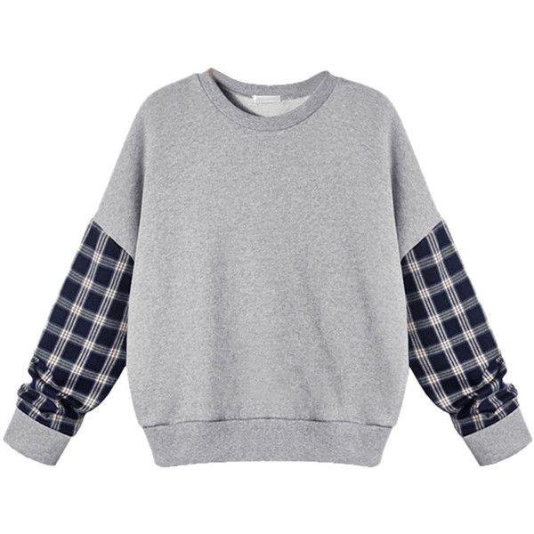 Choies Gray Plaid Sleeve Sweatshirt With Drop Shoulder (120 BRL) ❤ liked on Polyvore featuring tops, hoodies, sweatshirts, grey, plaid sweatshirt, drop shoulder sweatshirt, tartan top, sleeve top and grey top