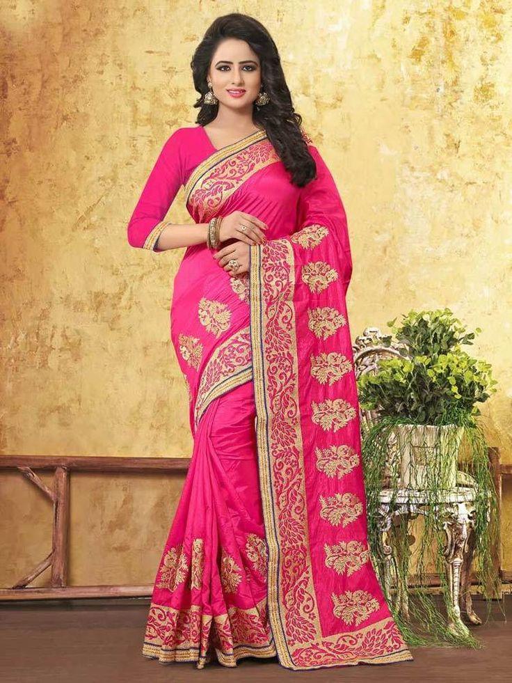 Traditional and party wear art silk saree ethnic designer zari work pink sari   eBay