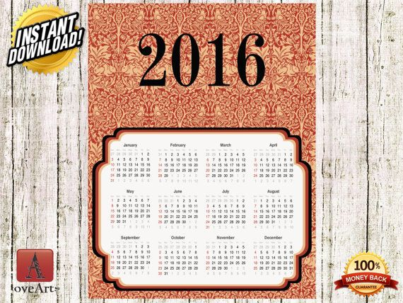 Hey, I found this really awesome Etsy listing at https://www.etsy.com/listing/257139432/instant-download-vintage-calendar-2016