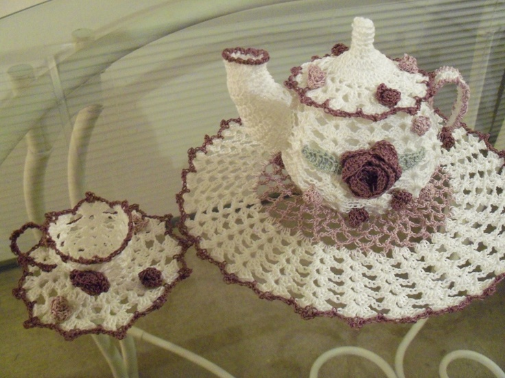 Made to Order CHINTZ Tea Pot Crochet Doily and 2 free standing Teacups & Saucers Antique White, Lt and Med Antique Violet 100% Cotton.