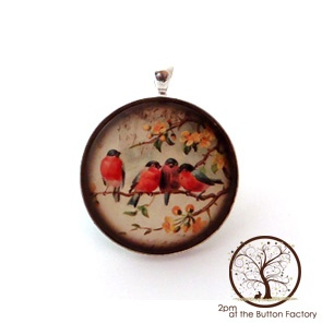 Robins Glass Button Pendant by 2pm at the Button Factory