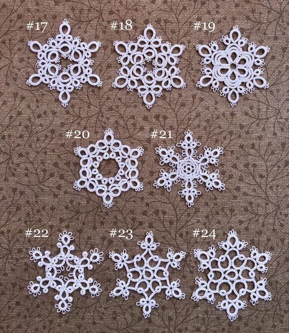 Easy tatting snowflake visual PDF pattern download Christmas snowflakes Hanging decoration Digital Tatted CHRISTMAS Ornament Shuttle tatting