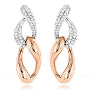 Two Tone 18K Gold Diamond Designer Earrings 5.2ct