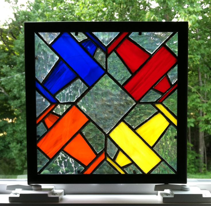 Stained glass airplanes quilt square