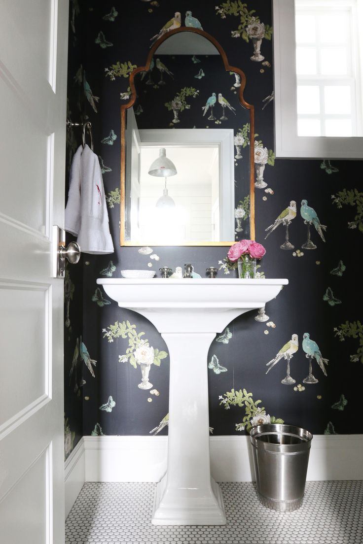 Photo Image Small Bathroom with Nina Campbell Wallpaper White Pedestal Sink and White Penny Tile Floor Love the pops of aqua in the bird wallpaper