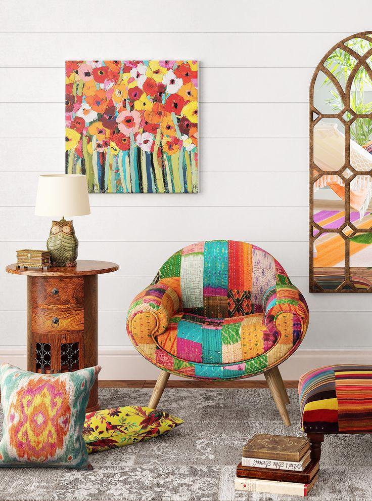 Boho M�bel und Dekor in bunt mit Patchwork Sessel