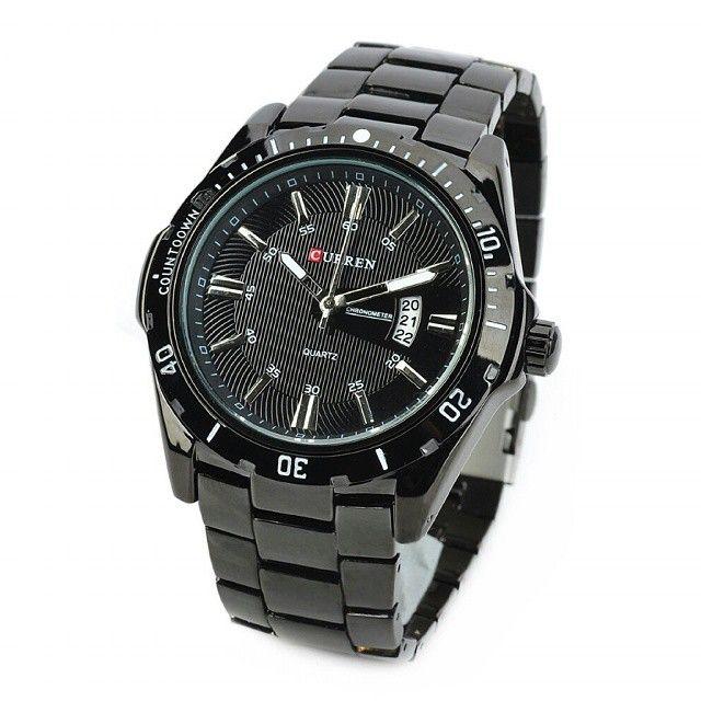 Curren 8110 Casual - Sytle Watch (Jam Tangan Sportif)  Harga Rp 240.000  Spesifikasi: - Brand: Curren. - Grade: Original. - Tahan air: 3 ATM. - Diameter case: 4,5 cm. - Tebal case: 1,1 cm. - Bahan case: Alloy. - Warna case: Hitam. - Panjang tali: 17,5 cm. - Lebar tali: 2,4 cm. - Bahan tali: Stainless steel. - Tipe clasp: Fold over clasp with push button. - Display: Analog. - Mesin: Quartz. - Tipe baterai: SR626SW.