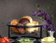 Traditional+Transitional+Black+Iron+Metal+and+Glass+Serving+Bowl