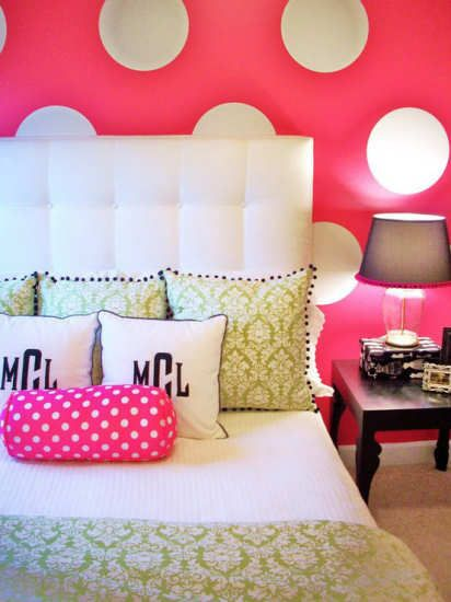 How to tastefully decorate with polka dots--bedroom with bright pink walls and white polka dots