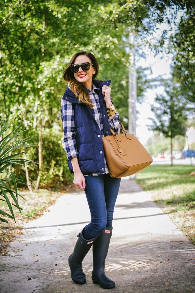 [ plaid top + puffer vest + hunter boots ]