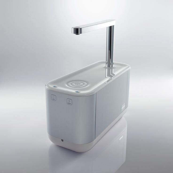 Water purifier, chrome, plastic, white, aluminium