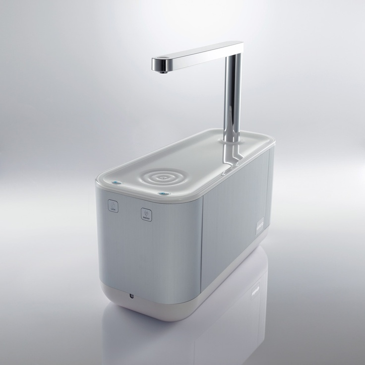 Water purifier, chrome, plastic, white, aluminium
