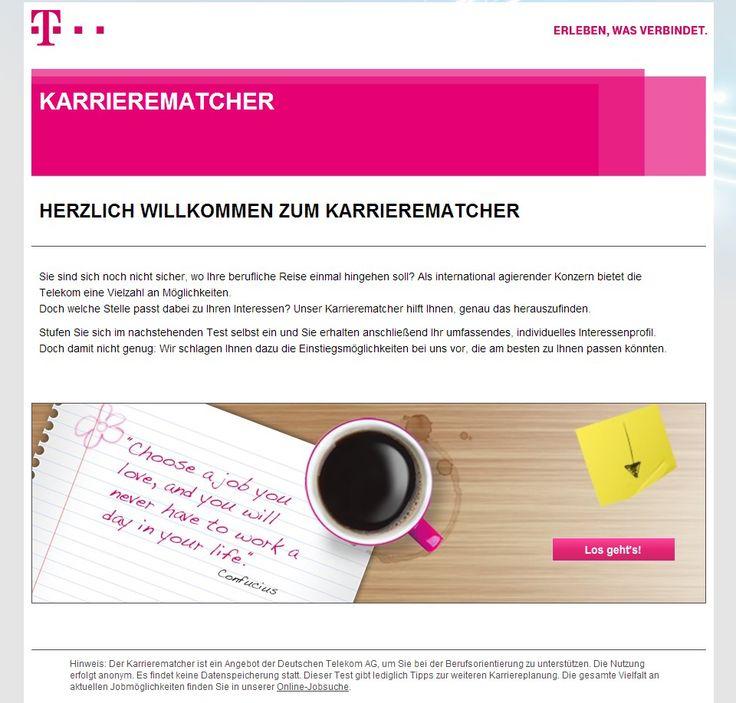 Karrierematcher: Die Deutsche Telekom bietet Berufsinteressentest als Orientierungshilfe für den Einstieg. Eigenes Interessenprofil wird gematcht mit Einstiegsjobs bei der Telekom...