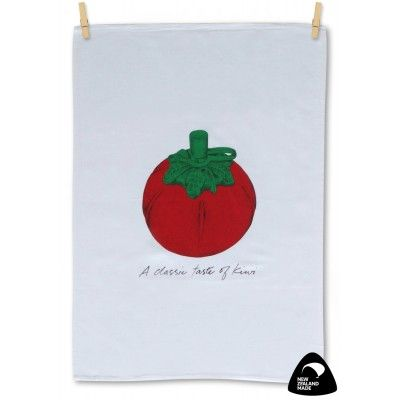 Tea towel A Classic Taste of Kiwi. A quality New Zealand made 100% cotton tea towel featuring the iconic plastic tomato shaped sauce dispenser found on New Zealand tables and at Kiwi barbeques all over the country. No doubt the tomato sauce in the dispenser is full of New Zealand's favourite - Wattie's Tomato Sauce. Matching apron available.  See more at www.entirelynz.co.nz/gifts