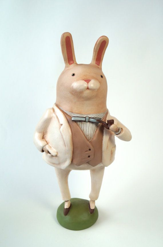 Dapper Gentleman Rabbit Vintage style Easter decorative figurine