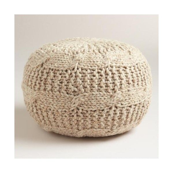 Cost Plus World Market Taupe Heather Sweater Pouf 99 Liked On Polyvore Featuring