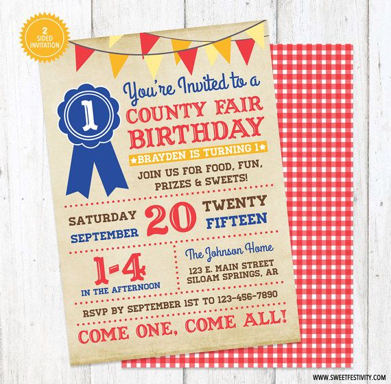 County Fair Printable Birthday Party Invitation