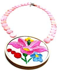 Hand embroiderd pink necklace with seashells  by Andrea Macsar http://www.h-art.com.au/#!necklaces/c1y06